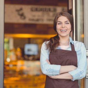 Smiling woman in the bakery